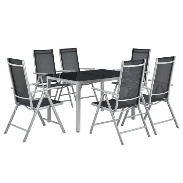Aluminium Gartengarnitur Milano 7-teilig mit Tisch und 6 Stühlen silbergrau