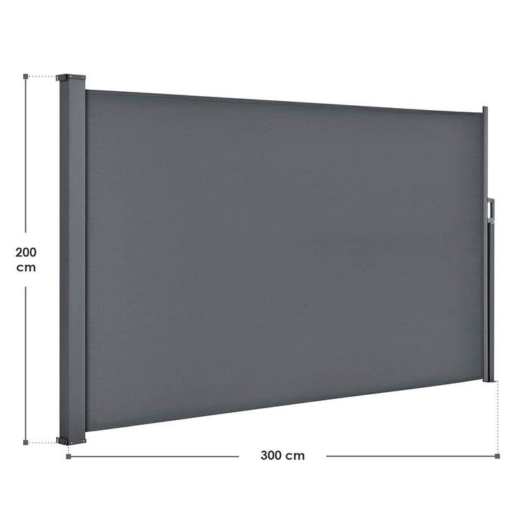 Abmessungen der Seitenmarkise Dubai in dunkelgrau 200 x 300 cm von ArtLife