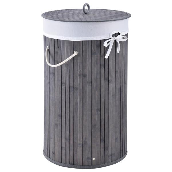 Bambus Wäschekorb Curly-Round grau mit Wäschesack und Tragegriffen