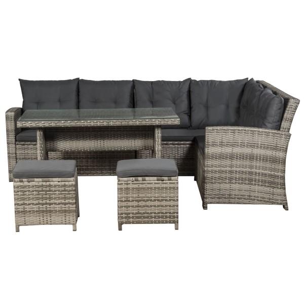 Polyrattan Lounge / Sitzgarnitur Santa Catalina beigegrau - Bezüge in Dunkelgrau