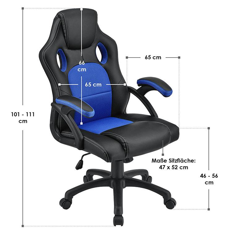 Racing Schreibtischstuhl Montreal - Blau - mit verstellbarer Rückenlehne, gepolsterten Armlehnen und höhenverstellbarer Sitzfläche
