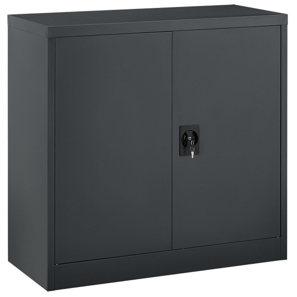 Aktenschrank Office 90x90 anthrazit mit 2 Türen aus Metall