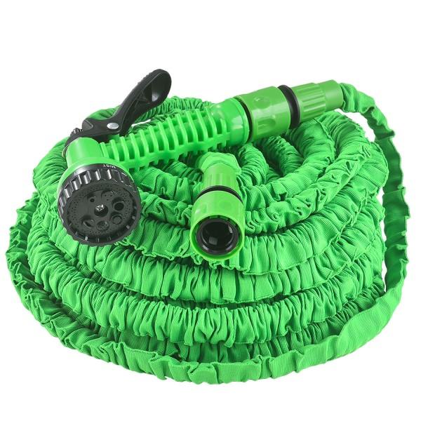 Flexibler Gartenschlauch Aqua 30m mit Multifunktionsbrause in grün