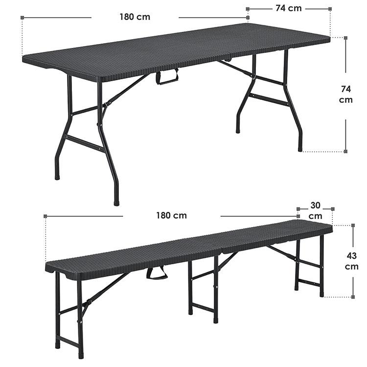 Abmessungsbild Bierzeltgarnitur Amberg 180x69x74 cm - 3-teiliges Set klappbar in Rattan-Optik mit Tisch & 2 Bänken