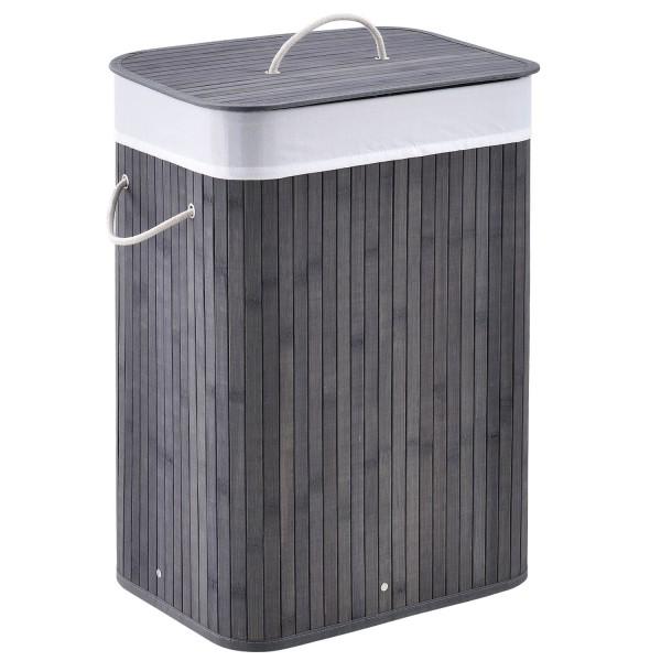 Bambus Wäschekorb Curly 72 Liter grau mit Wäschesack und Tragegriffen
