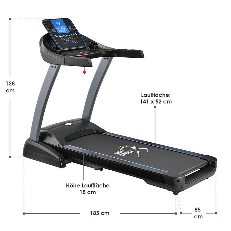 Abmessungsbild Laufband Speedrunner 7000 mit Motor für das heimische Ausdauer- und Fitnesstraining