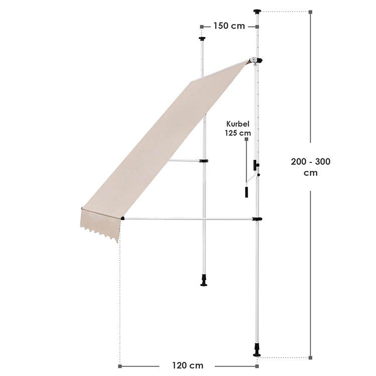 Abmessungen Klemmmarkise Kuwait 150x120 cm Beige