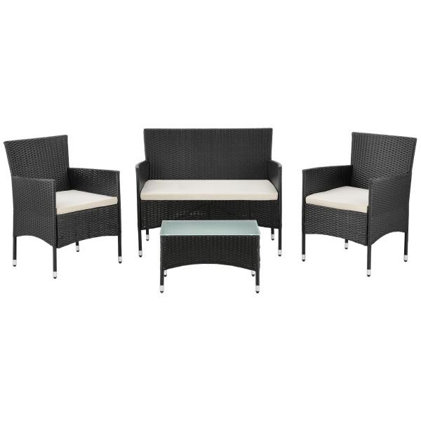 Polyrattan Gartenmöbel Sitzgruppe Fort Myers schwarz und cremeweiße Bezüge