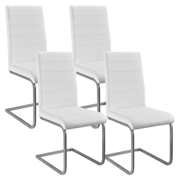 Freischwinger Stuhl Vegas 4er Set aus Kunstleder in weiß