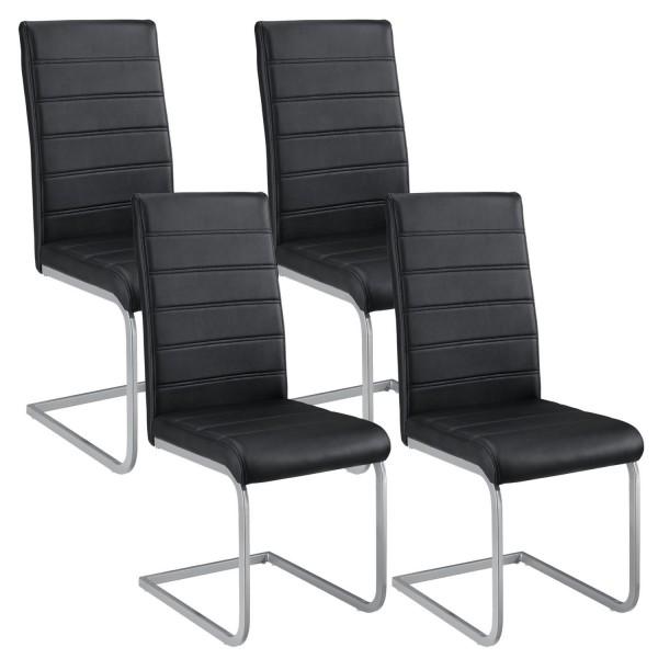 Freischwinger Stuhl Vegas 4er Set aus Kunstleder in schwarz
