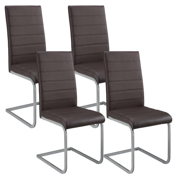 Freischwinger Stuhl Vegas 4er Set aus Kunstleder in braun