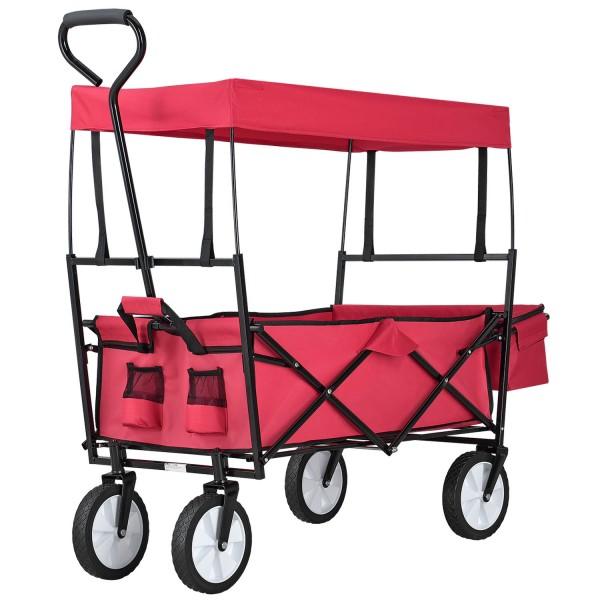 Bollerwagen faltbar mit abnehmbaren Dach und Tasche in rot