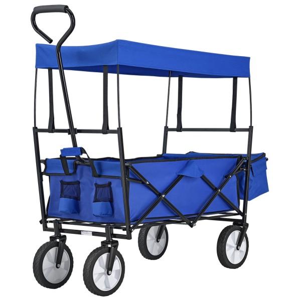 Bollerwagen faltbar mit abnehmbaren Dach und Tasche in blau