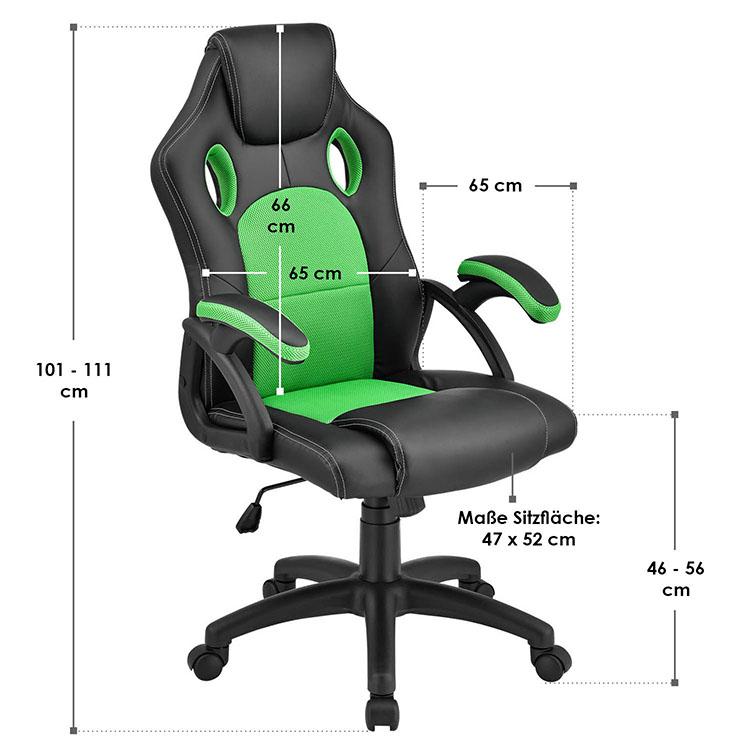 Racing Schreibtischstuhl Montreal - Grün - mit verstellbarer Rückenlehne, gepolsterten Armlehnen und höhenverstellbarer Sitzfläche
