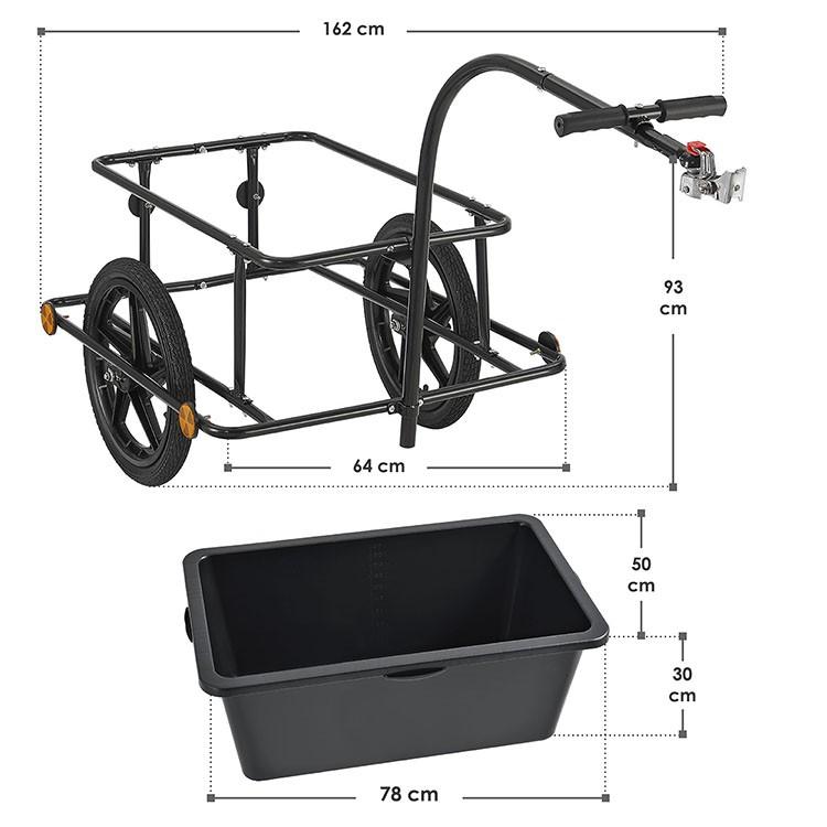 Abmessungen Fahrradanhänger 90 Liter für Fahrräder mit 26 bzw 28 Zoll