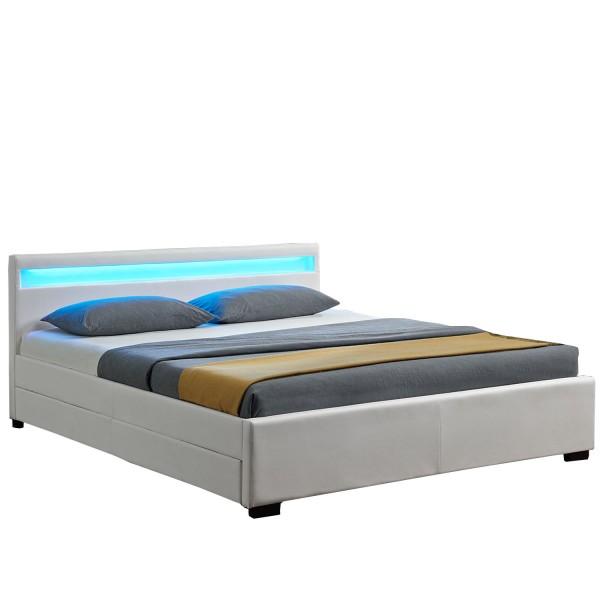 Polsterbett Lyon mit Bettkasten 140 x 200 cm - weiß