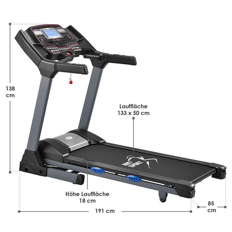 Abmessungen Laufband Speedrunner 6000 von ArtSport – Gesamtmaße vom Fitnessgerät: 191 x 85 x 138 cm, Maße der Lauffläche: 133 x 50 cm