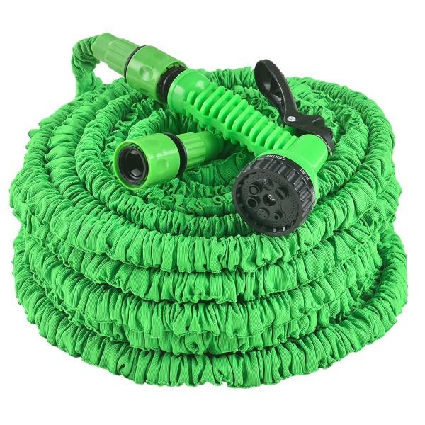 Flexibler Gartenschlauch Aqua 45m mit Multifunktionsbrause in grün