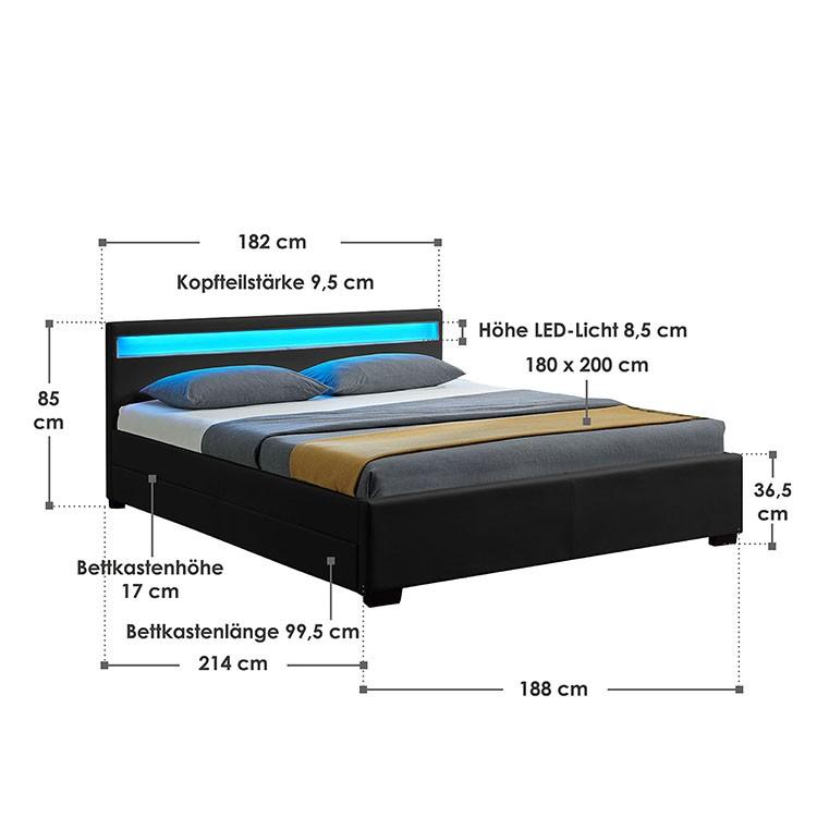 Abmessungsbild Polsterbett Lyon 180x200 cm schwarz mit LED-Beleuchtung im Kopfteil, vier ausziehbaren Bettkästen und Lattenrost