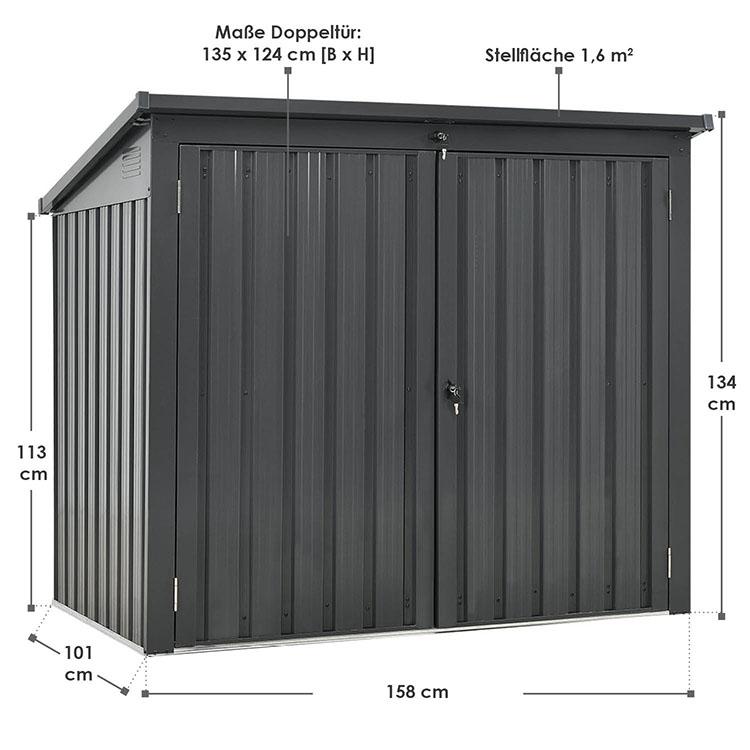 Abmessungen Mülltonnenbox Genk aus Stahl in Anthrazit mit Klappdach und 2 Türen