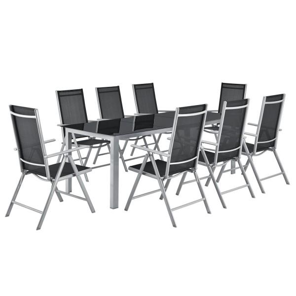 Aluminium Gartengarnitur Milano 9-teilig mit Tisch und 8 Stühlen silbergrau