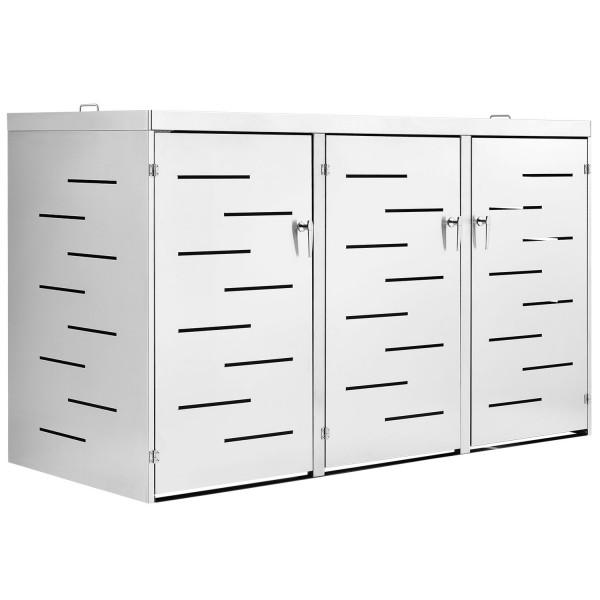 3er Edelstahl Mülltonnenbox Arel mit Schiebedach & verschließbaren Türen