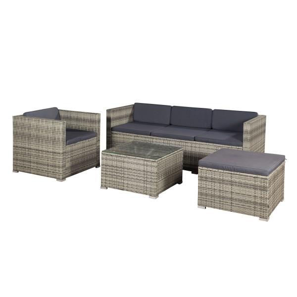 Beliebt Polyrattan Gartenmöbel Lounge Punta Cana L grau-meliert und BM19