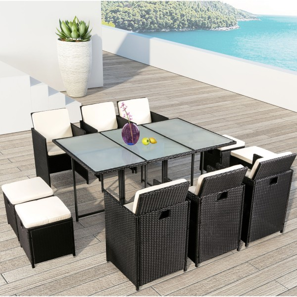 polyrattan essgruppe pico xl f r 6 personen 11 teilig schwarz juskys. Black Bedroom Furniture Sets. Home Design Ideas
