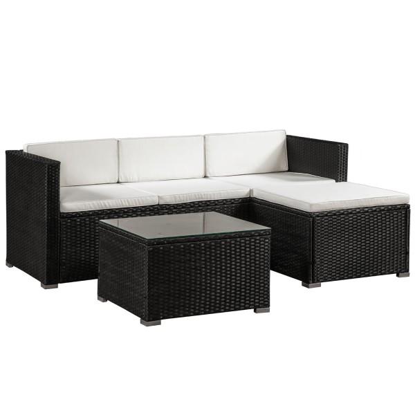 Polyrattan Lounge / Sitzgarnitur Punta Cana M schwarz mit Bezügen in Creme