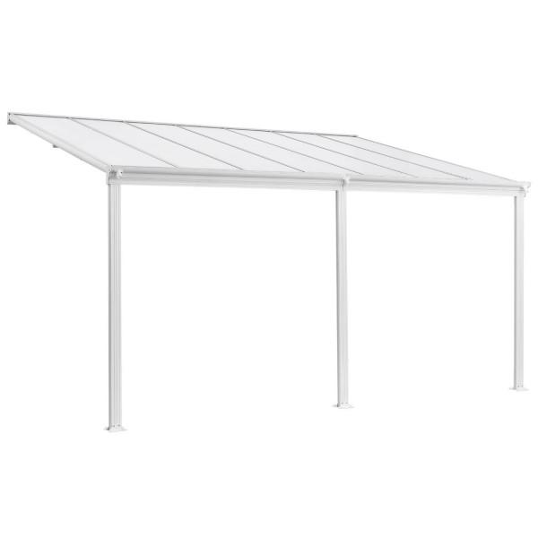 Aluminium Terrassendach Borneo 4x3m mit Doppelsteg-Platten weiß / transparent