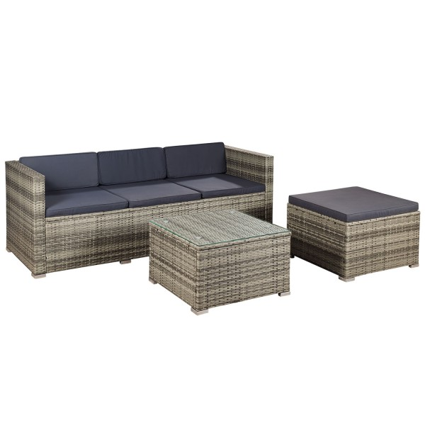 polyrattan gartenm bel lounge punta cana m grau meliert. Black Bedroom Furniture Sets. Home Design Ideas