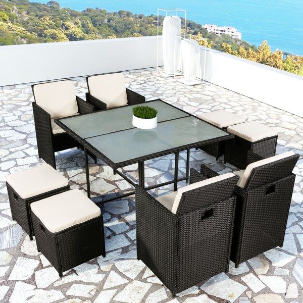 polyrattan essgruppe pico l f r 4 personen 9 teilig schwarz. Black Bedroom Furniture Sets. Home Design Ideas