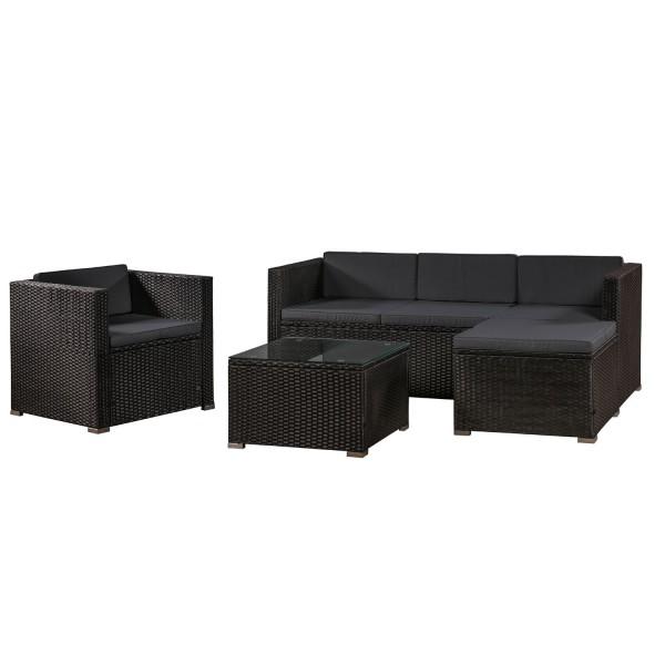 Polyrattan Lounge / Sitzgarnitur Punta Cana L schwarz mit Bezügen in Dunkelgrau