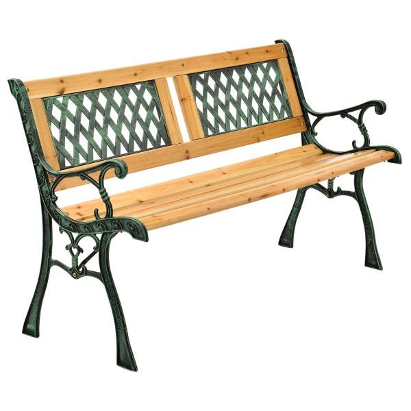 2 Sitzer Gartenbank Sanremo aus lackiertem Holz und Gusseisen