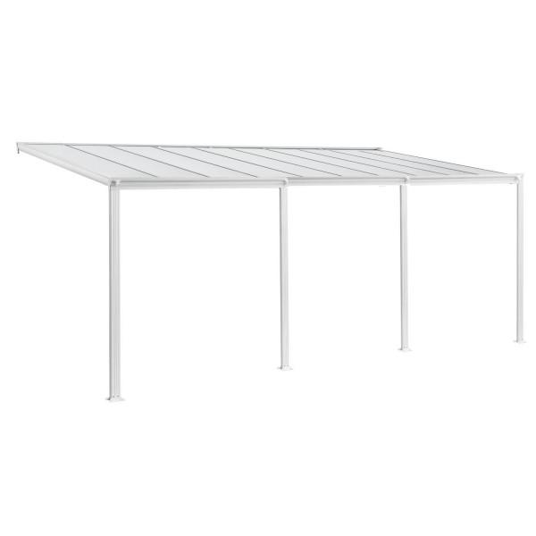 Aluminium Terrassendach Borneo 6x3m mit Doppelsteg-Platten weiß / transparent
