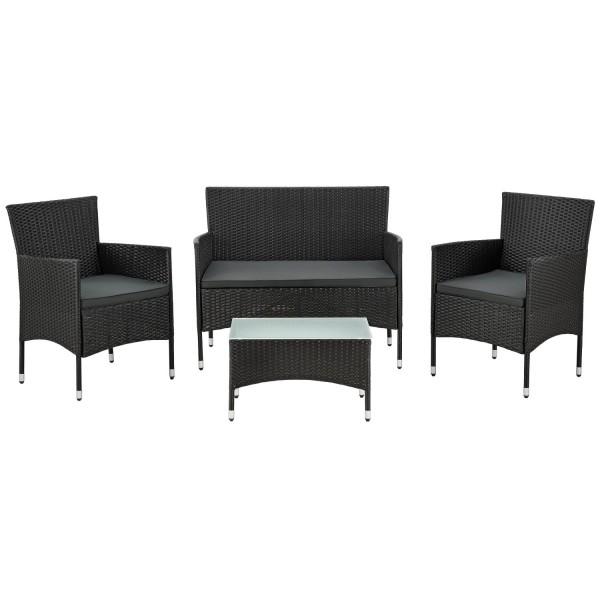 Polyrattan Gartenmöbel Sitzgruppe Fort Myers schwarz und dunkelgraue Bezüge