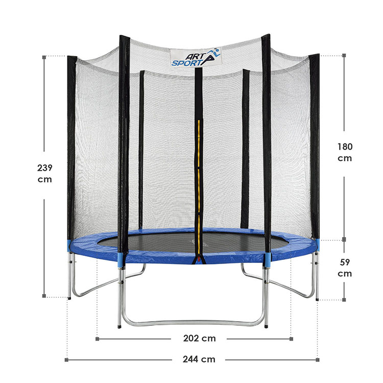 Abmessungsbild Trampolin Jampino Ø 244 cm mit Sicherheitsnetz, Randabdeckung und Leiter