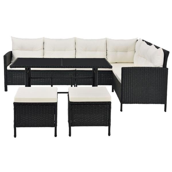 Polyrattan Gartenmöbel Lounge Manacor schwarz mit Bezügen in Creme