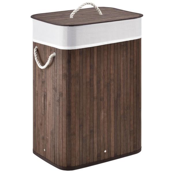 Bambus Wäschekorb Curly 72 Liter braun mit Wäschesack und Tragegriffen