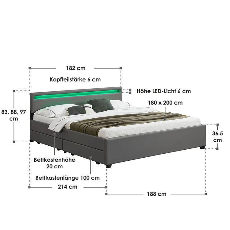 Abmessungsbild Polsterbett Lyon 180x200 cm dunkelgrau mit LED-Beleuchtung im Kopfteil, vier ausziehbaren Bettkästen und Lattenrost