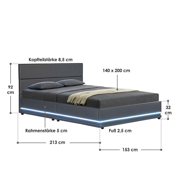 Abmessungsbild Polsterbett Toulouse 140x200 cm dunkelgrau mit LED-Beleuchtung, großem Bettkasten & Lattenrost