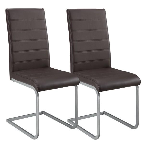 Freischwinger Stuhl Vegas 2er Set aus Kunstleder in braun
