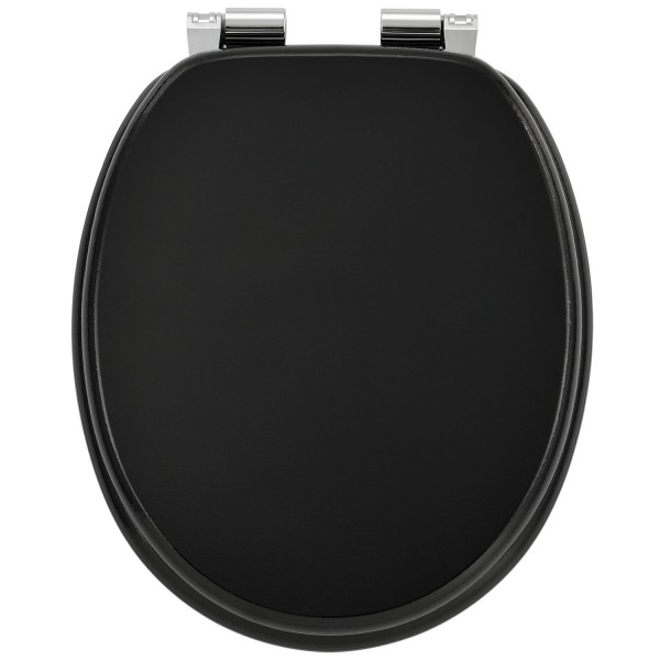 WC-Sitz Toilettensitz Black aus MDF mit Absenkautomatik