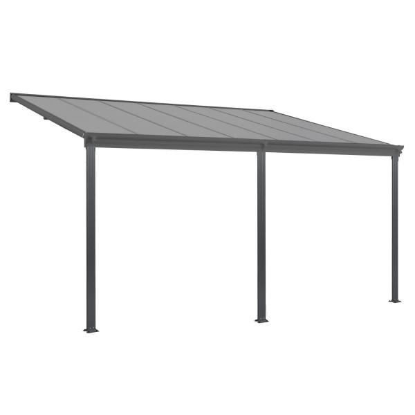 Aluminium Terrassendach Borneo 4x3m mit Doppelsteg-Platten in dunkelgrau