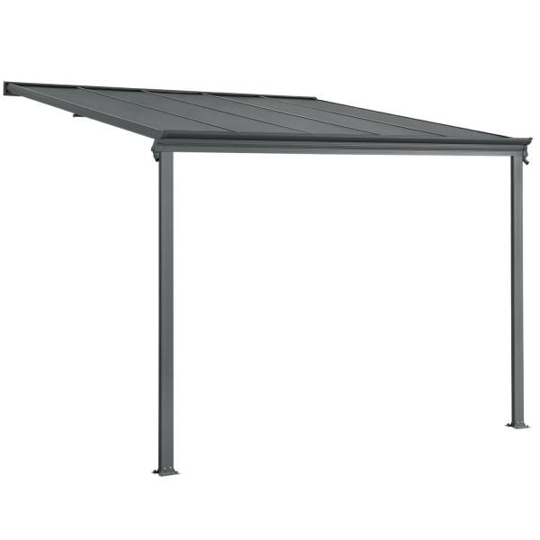 aluminium terrassendach borneo 3x3m mit doppelsteg platten in dunkelgrau juskys. Black Bedroom Furniture Sets. Home Design Ideas