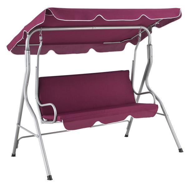 Hollywoodschaukel Cecina 3-Sitzer beschichtetes Stahlgestell in rot