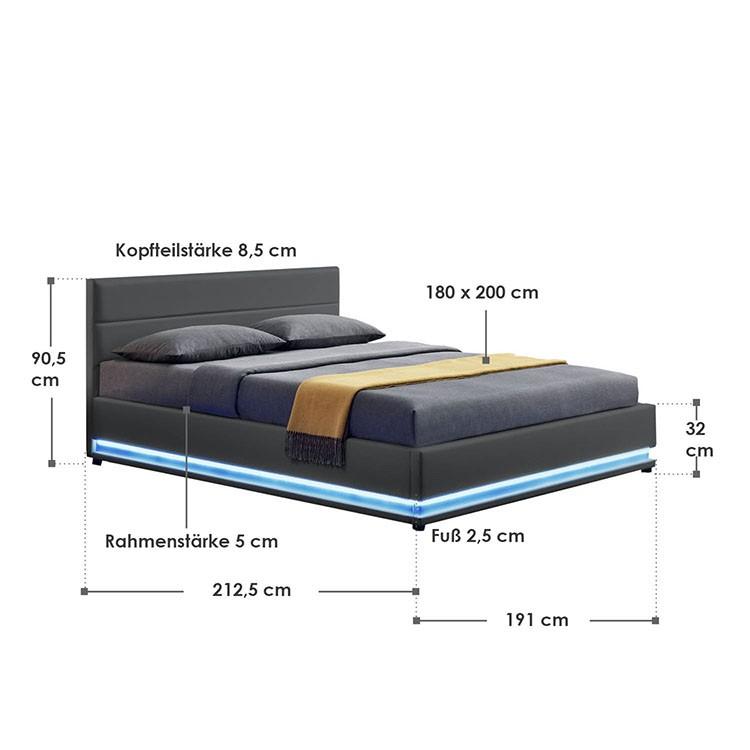 Abmessungsbild Polsterbett Toulouse 180x200 cm dunkelgrau mit LED-Beleuchtung, großem Bettkasten & Lattenrost