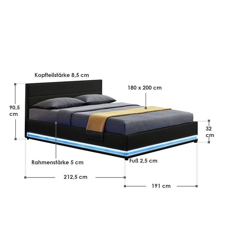Abmessungsbild Polsterbett Toulouse 180x200 cm schwarz mit LED-Beleuchtung, großem Bettkasten & Lattenrost