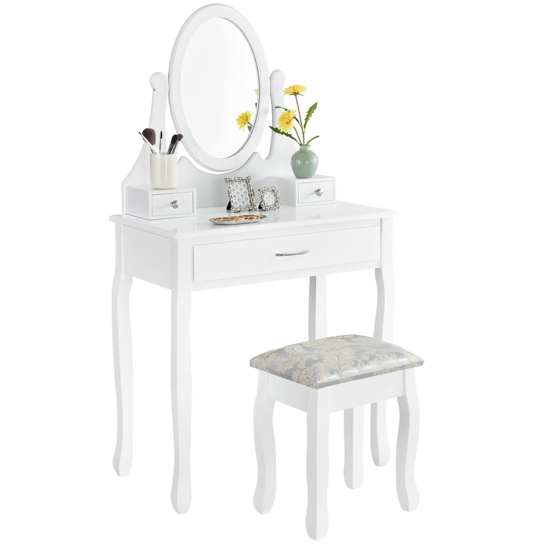 schminktisch lena wei mit spiegel und hocker juskys. Black Bedroom Furniture Sets. Home Design Ideas