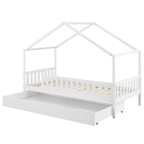 Kinderbett Yuki 90 x 200 cm mit Bettkasten, Dach und Lattenrost in weiß